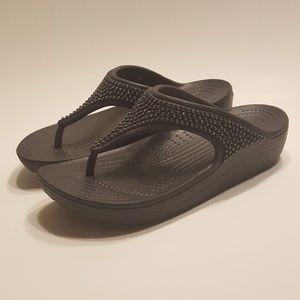 Crocs Women's Diamante Flip-Flop Sandals Black